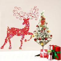 الزجاج الشارات عيد الميلاد نافذة سيكا الغزلان الحمراء الديكور ملصقات الحائط زجاج الباب نافذة احتفالي معجون ديكور 3