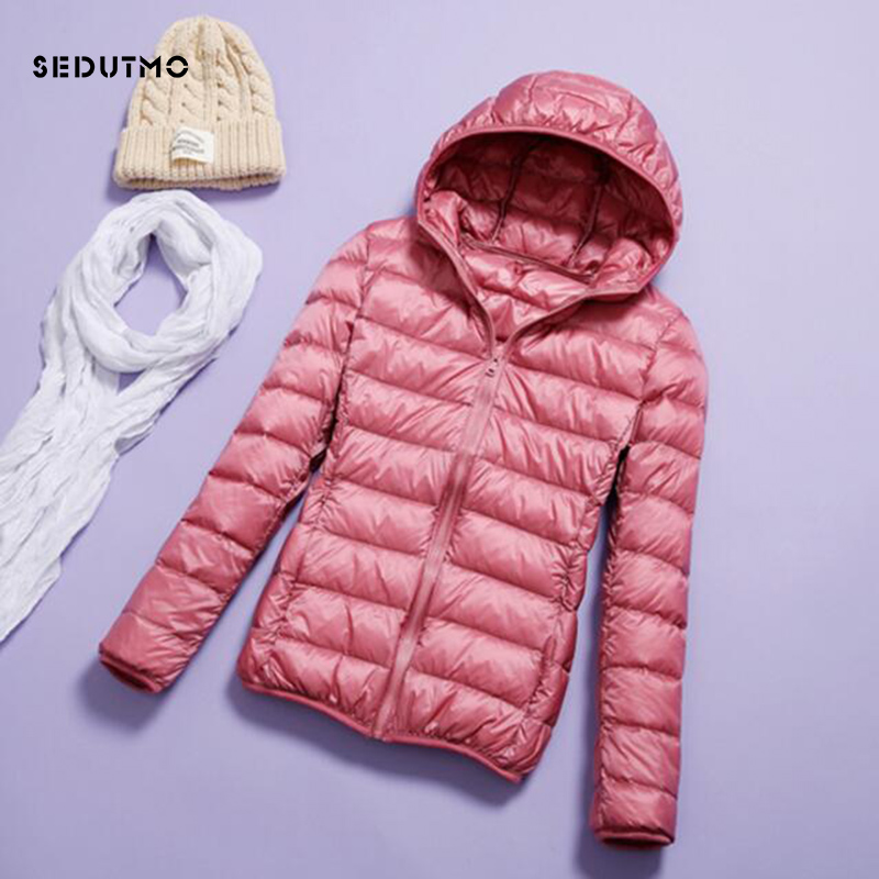 SEDUTMO Spring Plus Size 3XL Womens   Down   Jackets Winter Ultra Light Duck   Down     Coat   Hooded Short Slim Puffer Jacket ED228
