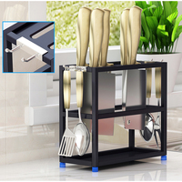 Universal Black Silver Green Stainless Steel Kitchen Knife Holder Scissors Spoon Storage Knife Block Stand Metal Rack Set