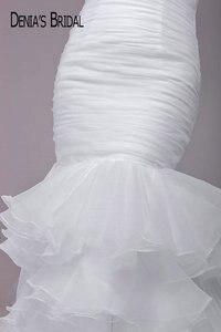 Image 4 - フリルマーメイドウェディングドレスでブラックベルトティアード裁判所の列車ブライダルガウンカスタムメイド