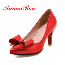 AnmaiRon Newest fashion shoes woman pumbs in high heel Spring High Quality female Red Sliver Sex Pointed Toe ladies