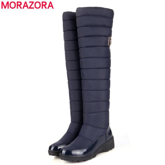 2016 nueva llegada mantener caliente botas de nieve de la plataforma de la moda de piel muslo botas altas hasta la rodilla caliente botas de invierno para las mujeres zapatos barcos
