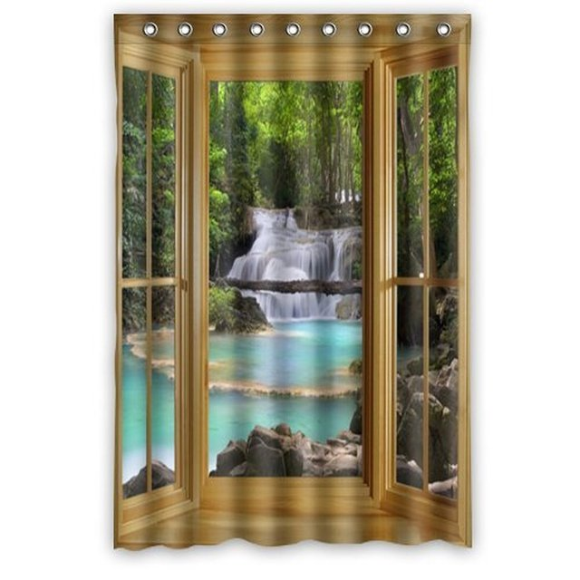 48 Inches Funny Design Like A Window With Beautiful Scenery Shower ...