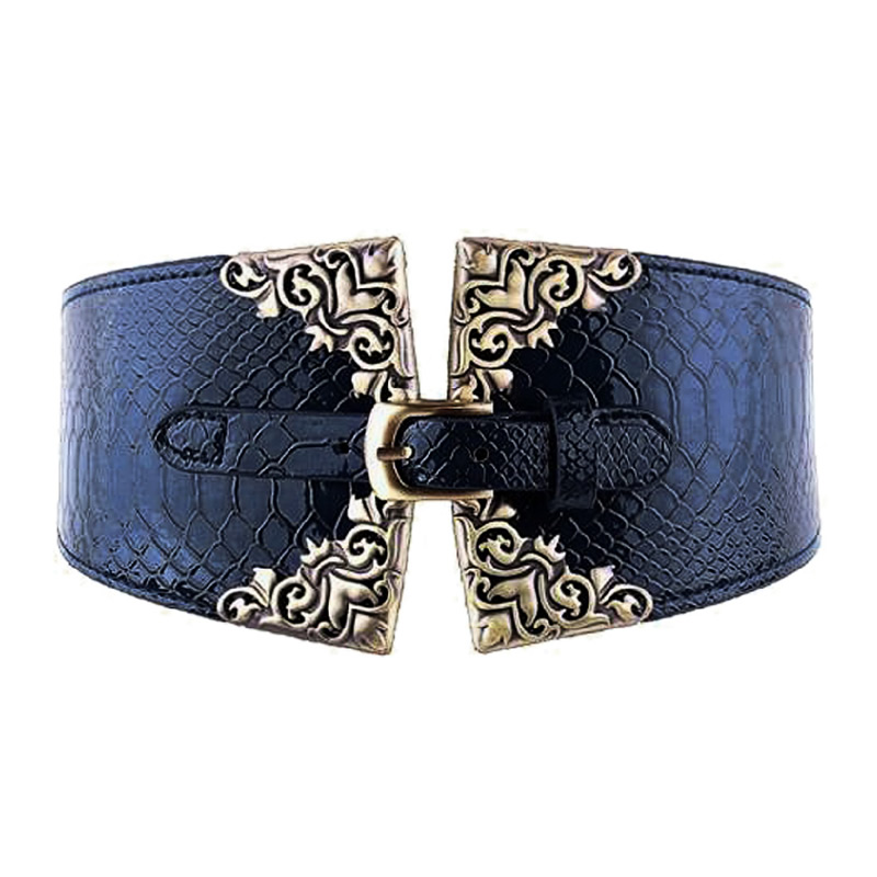 Women  Fashion Retro Metal Buckle Leather Lady Elastic Wide Cummerbunds