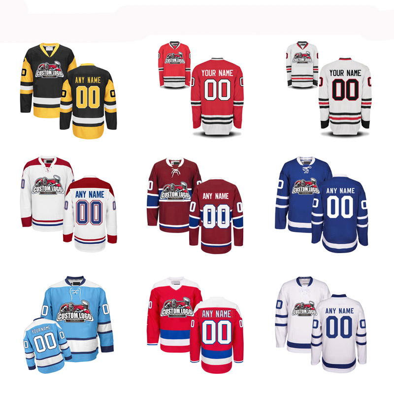 MeiLunNa Christmas Black Friday Custom Any Hockey Team Goalie cut Jersey Sewn On Any Name And Number Color Size