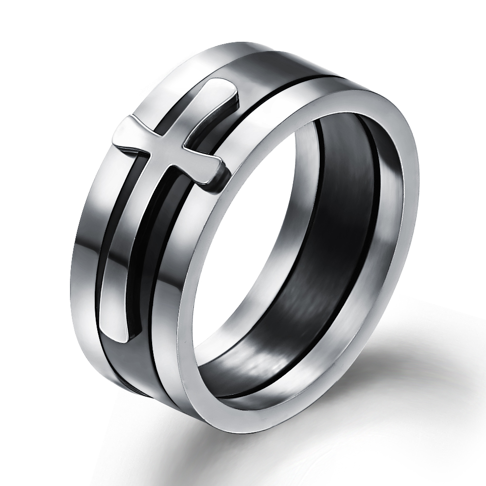 Cool Stainless Stee Men Rings Unique 3 in 1 Cross Wedding Band for Man Jewelry Wholesale