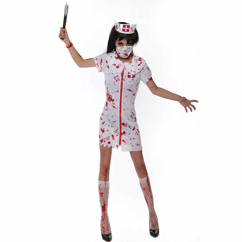 fe11030276196 ... Umorden Halloween White Bloody Zombie Nurse Costume Women Men Couple  Adult Scary Doctor Insane Surgeon Costumes ...