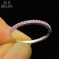 HELON Solid 10K White Gold Stackable Pave Brilliant 100% Natural Pink Sapphire Engagement Ring Gemstone Anniversary Wedding Ring