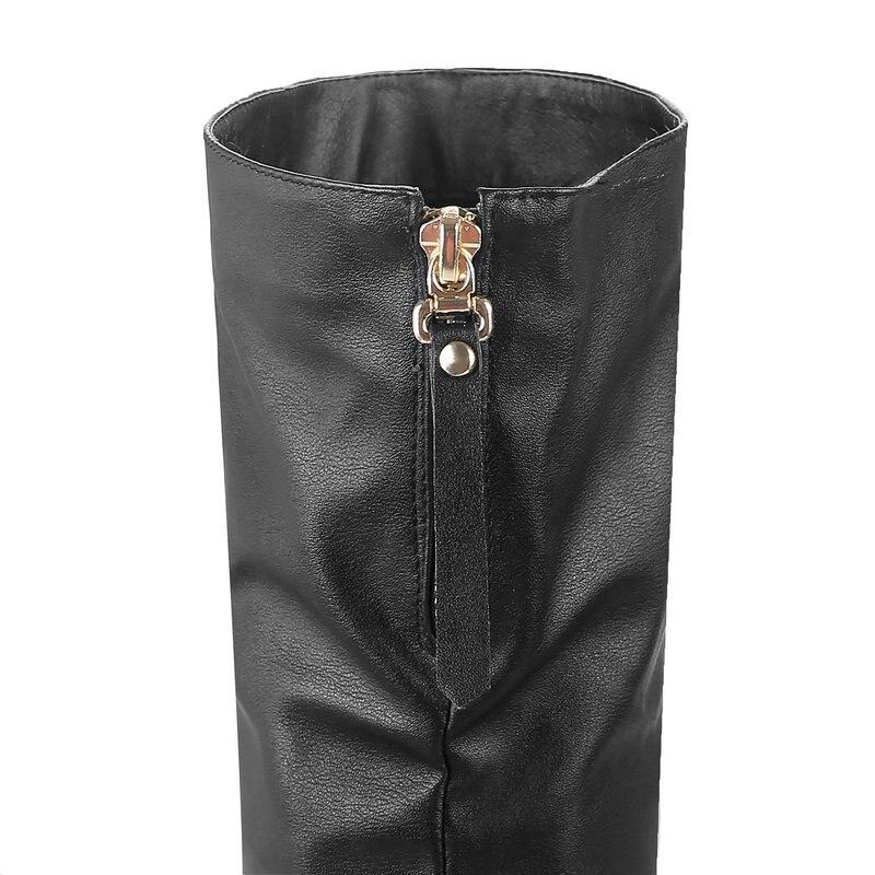 Dames De Sur Talons Rond Slip Hiver Cuir blanc Le Noir Femmes Bout Plate Hauts Chaussures Blanc À Bottes Noir forme Pu Genou Carré Mode SAcTWFqc