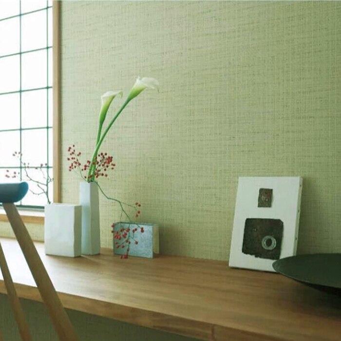 Купить с кэшбэком Japan Style Tatami Wallpaper Matcha Green Plain Decorative  Bedroom Wall Paper Roll