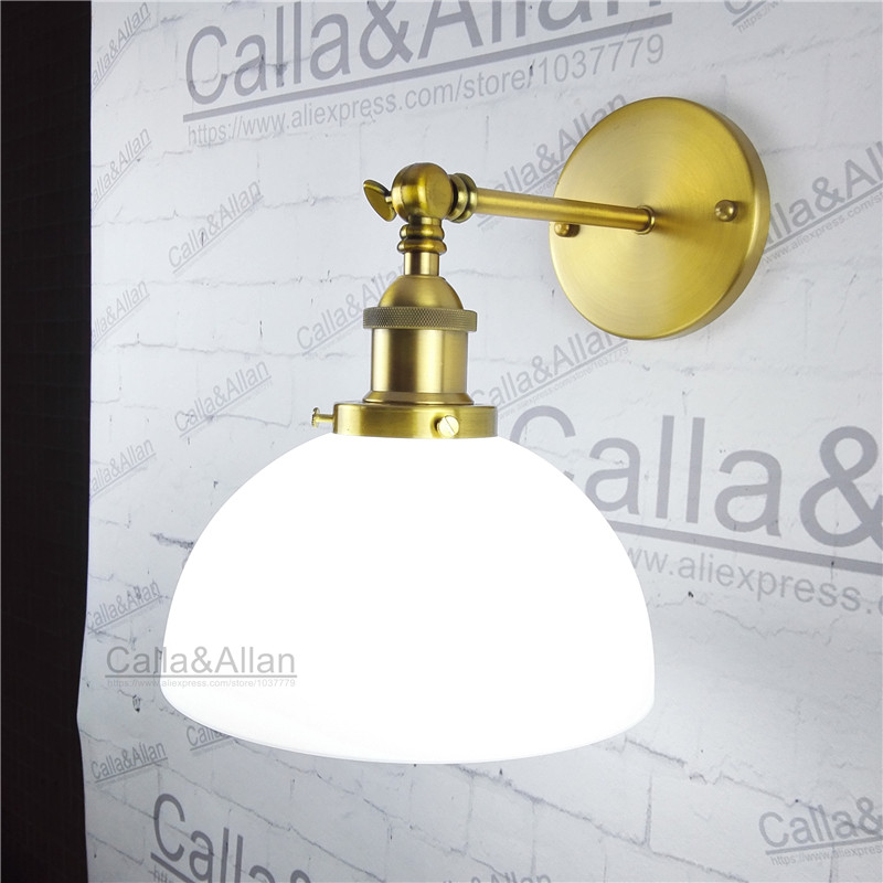 Здесь продается  Milk white glass lampshade brass holder wall loft light E27 AC110V/220V beside sconce antique brass wall lamp industrial  Свет и освещение
