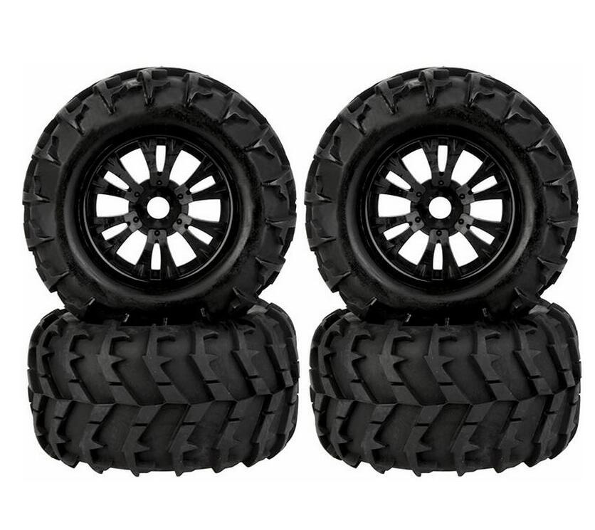 Free Shipping 4pcs 1/8 Monster truck wheels tire tyre fit for 1/8 RC Car model Traxxas HSP Tamiya HPI Kyosho RC Car Truck free shipping model car bearing sets bearing kit traxxas car stree sport