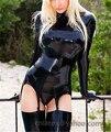 Латекс женщины костюм с подвязками включая шорты LC093
