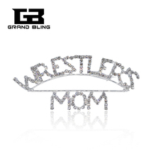 Custom Made Pins Mom Theme Brooch Words Pin  WRESTLERS MOM Moms Gift