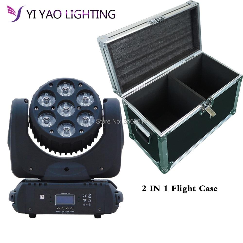 Flight Case 2pcs/lot 7x12w RGBW 4in1 High Power LED DJ Stage Lighting
