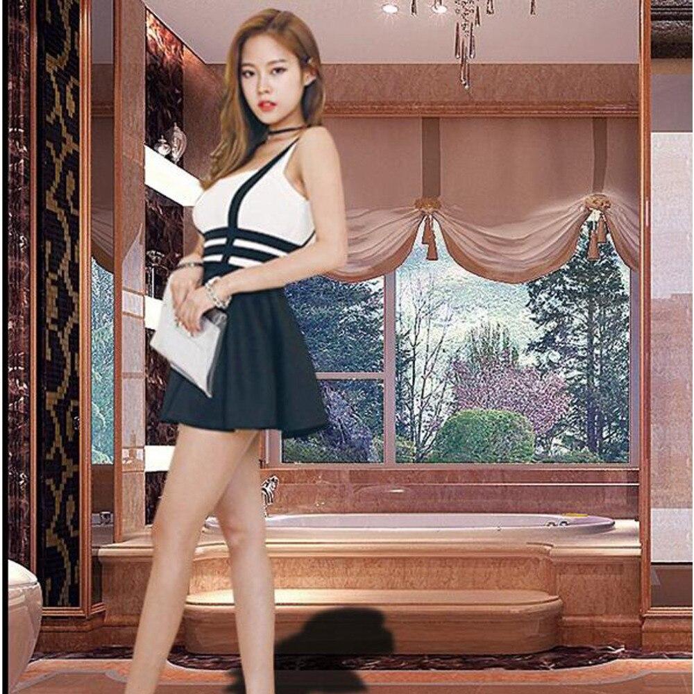 New Fashion Bandage Suspender Skirts Women Girl Ruffles Skater Pleated Short Braces Mini Skater Back Zipper Hollow Out Skirt