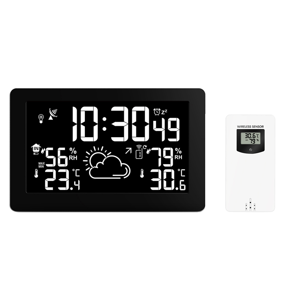 8 Colors Large Screen Display Wireless Weather Station Temperature Humidity Weather Forecast RCC Snooze Alarm Clock USB Charge