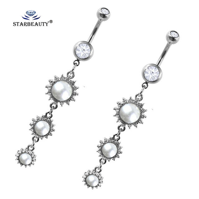 Us 1 27 36 Off Starbeauty Three Sun Flower Belly Ring Navel Piercing Ombligo White Pearl Belly Piercing Belly Button Rings Women Jewelry Gifts On