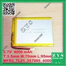 3.7 V 4000 mah Li-ion batería para tablet pc de 7 pulgadas MP3 MP4 [357095] 357095 3.5mm * 70mm * 95mm 3.7 v 4000 mah, Con la protección de la batería
