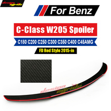 цена на W205 Tail Spoiler With Red Line FD Style Carbon For Mercedes Benz C Class 2-door Sedan C180 C200 C220 C250 C300 Spoiler Wing 15+