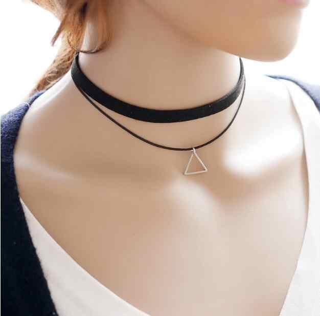 Wysokiej jakości wielowarstwowe Chokers naszyjniki dla kobiet trójkąt geometryczny naszyjnik Collares biżuteria Bijoux Colar