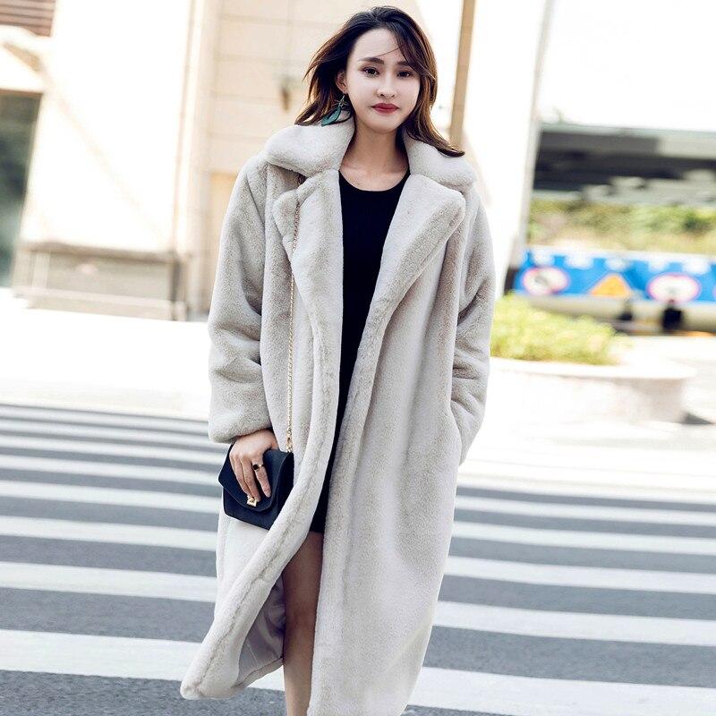 Mink Fur Coat Women Long Faux Fur Coat Winter Thick Warm Fake Fur Jacket Women Overcoat