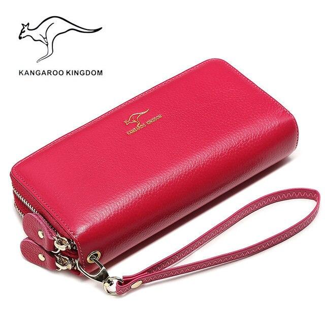 Carteira kangaroo de couro legítimo, carteira feminina longa e compacta feita em couro legítimo com zíper duplo