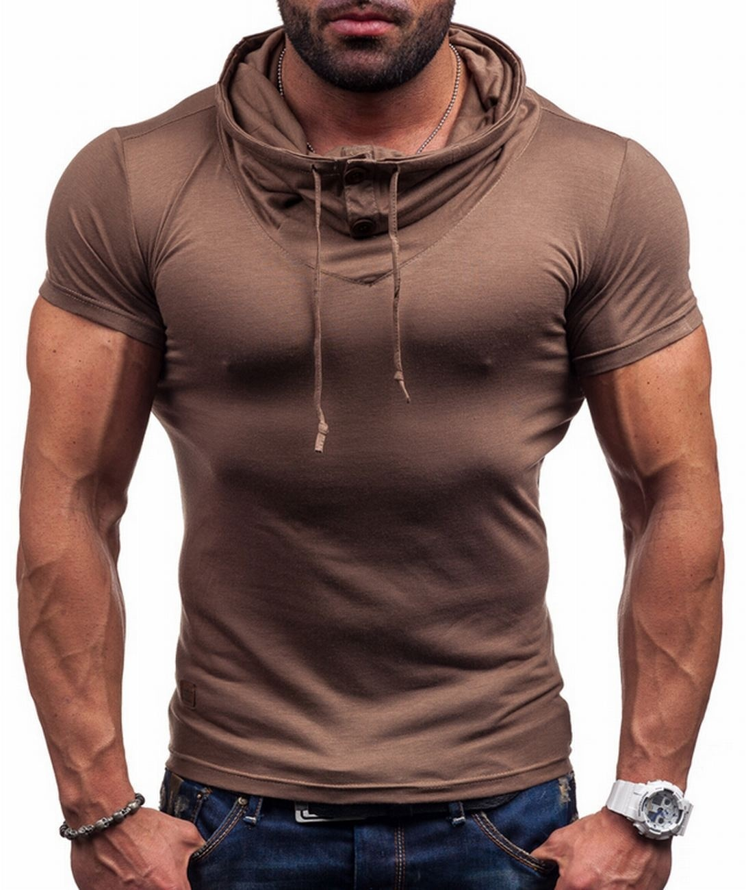 ZOGAA 2019 Fashion New Spring Summer men's Short Sleev   polo   shirt Drawstring stand Slim Fit   Polos   Casual Muscle Tee Fashion Tops