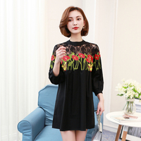 Sexy Hollow Out Flower Embroidered Lace Patchwork Shirt Dress Spring Autumn Women Stand Collar Casual Loose
