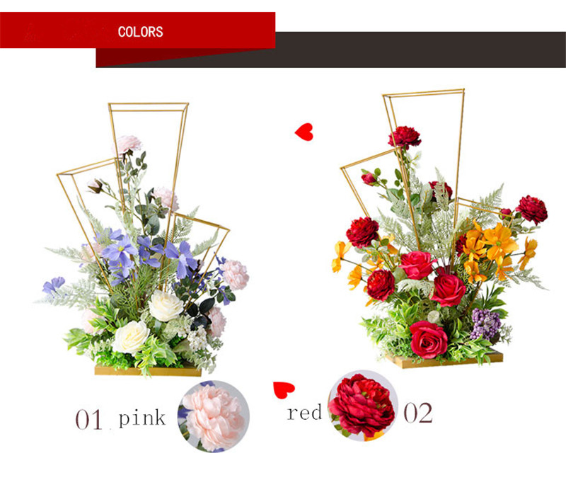 Artificial & Dried Flowers Latest Collection Of Wedding Decoration Simulation Silk Flower Wrought Iron Flower Main Table Flower Studio Photography Background Hotel Decoration Cheap Sales Artificial Decorations