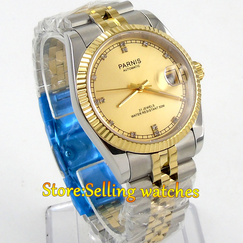 где купить 36mm Parnis gold dial Sapphire glass date window Miyota automatic mens watch по лучшей цене