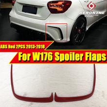W176 Rear bumper side Splitter Vent ABS Gloss Red Fits For MercedesMB A Class A180 A200 A250 A45AMG style Sports 2 Pcs 2013-2018