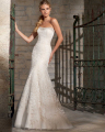 Amdml 2016 Hot Sale Embroidery Lace Strapless With Bling Crystal Line Mermaid Wedding Dresses Open Back Chapel Train Bridal Gown