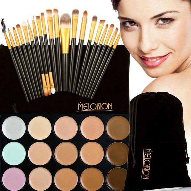 Free Shipping 15 Colors Contour Face Makeup Concealer Palette+20Pcs Brushes Set Black Gold makeup kits