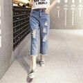 Altura da cintura calças de Brim do furo Primavera Denim Calças Perna Larga Das Mulheres fasion do vintage Causal Solto calças de Comprimento No Tornozelo Calça Jeans Feminina Calça Jeans do vintage
