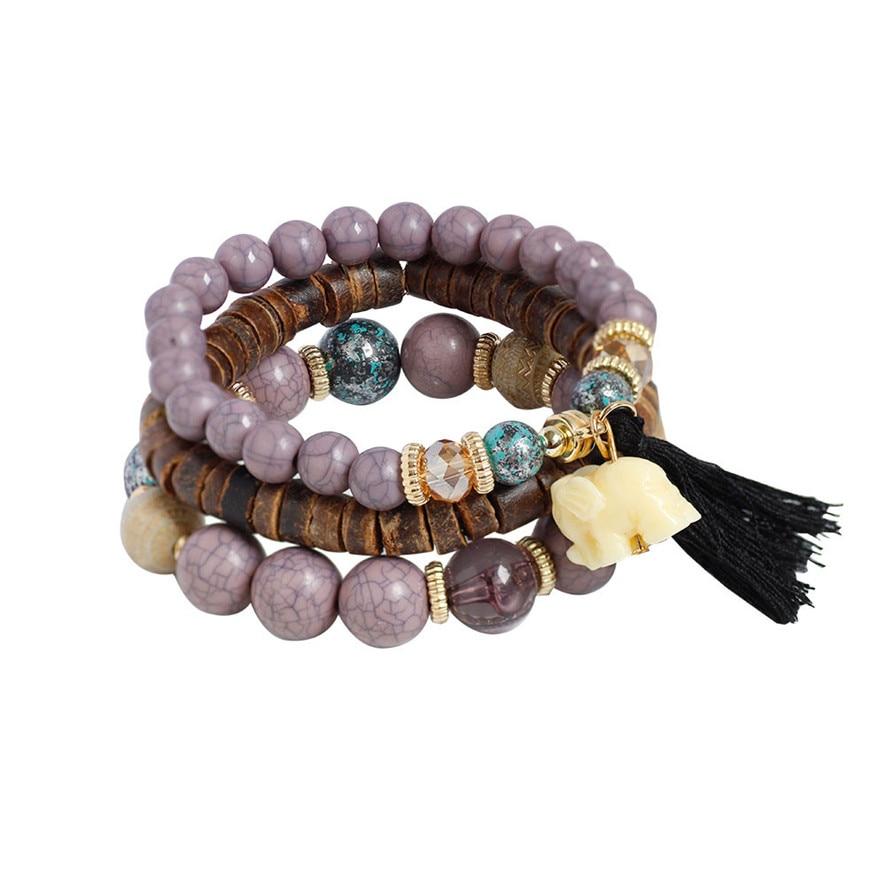 Best Price Fashion 1 Set Stretch Acrylic Beaded Bohemian Lady Bracelet Bangle