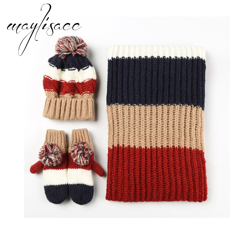 8-14 Years Children 3 Pcs Female Winter Warm Knitted Hat Cap Scarf With Gloves Fashionable For Women Acrylic Christmas Gift Set