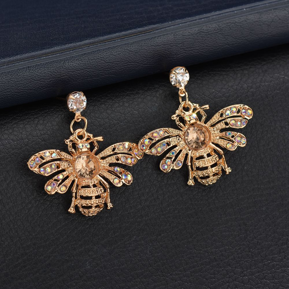 2019 NEW Gold Color Silver Color Colorful Shining Rhinestone Metal Punk Bee Personality Stud Earring Women Jewelry