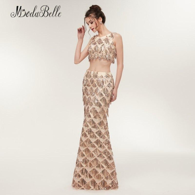 Modabelle sirène deux pièces Sequin robes de bal Champagne or Vestido Festa Longo longueur de plancher femmes robe de soirée brillant - 4