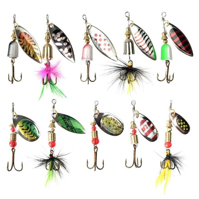 spoon metal fishing lure bait bass fishing bait tackle hook with feathers  X