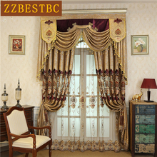 European luxury royal villa dark gold embroidered blackout Curtains for Living Room Classic high quality Curtain Bedroom