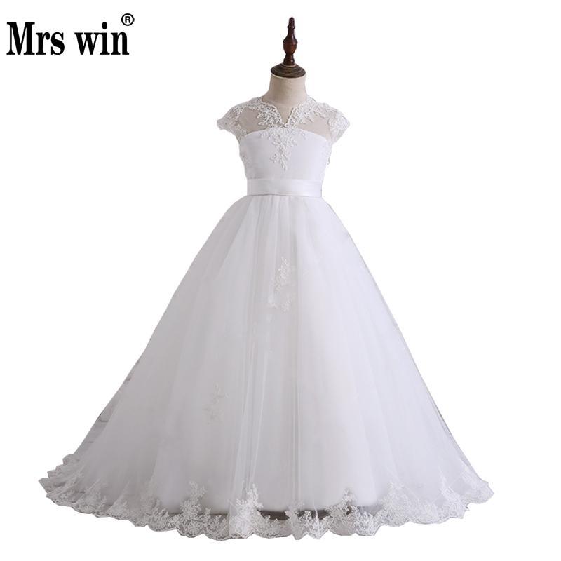 Flower     Girl     Dresses   2018 New Elegant White Lace Embroidery Luxury Sweep Train Robe De Bal Enfant For   Girl   Ball Gown   Dress   X