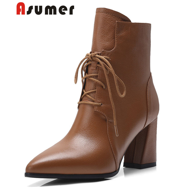 ASUMER NEW arrival 2018 adult pointed toe ankle boots for women fashion simple winter boots high quality solid high heels bootsASUMER NEW arrival 2018 adult pointed toe ankle boots for women fashion simple winter boots high quality solid high heels boots