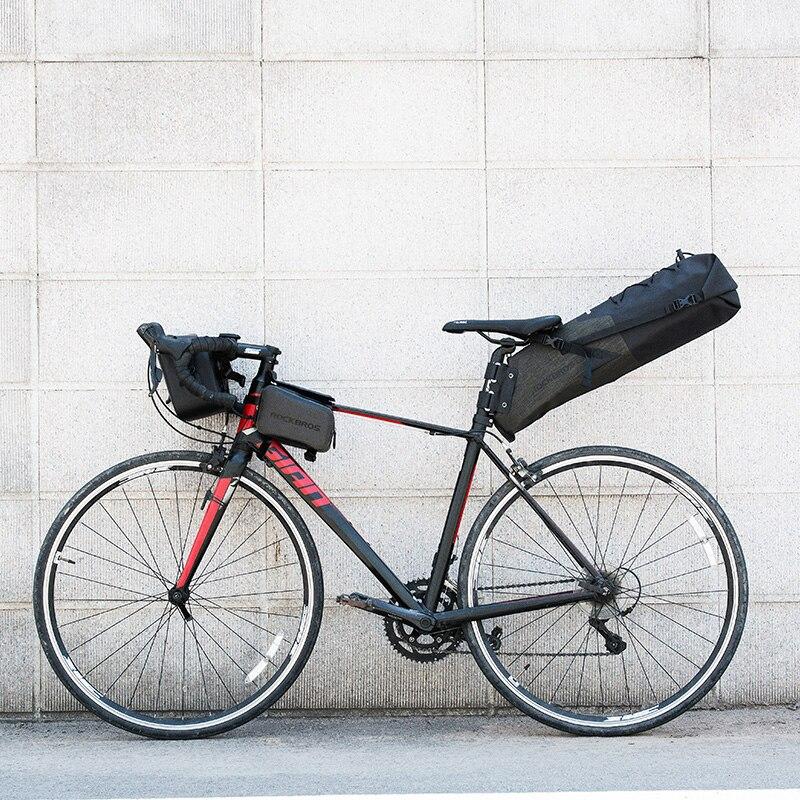 ROCKBROS Étanche De Bicyclette De Vélo Selle Sac Réfléchissant Grande Capacité Pliable Queue Arrière Sac Vélo VTT Coffre Pannier Sac À Dos - 6