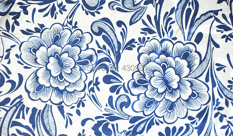 meter blue and white print fabric satin material for dress diy ...