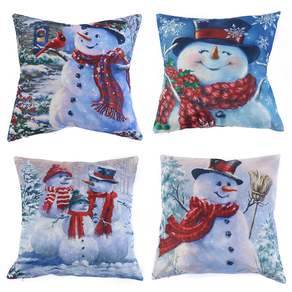 45x45cm Pillow Case Christmas Decorations For Home Snowman Christmas Cotton Linen Cushion Cover Home Decor