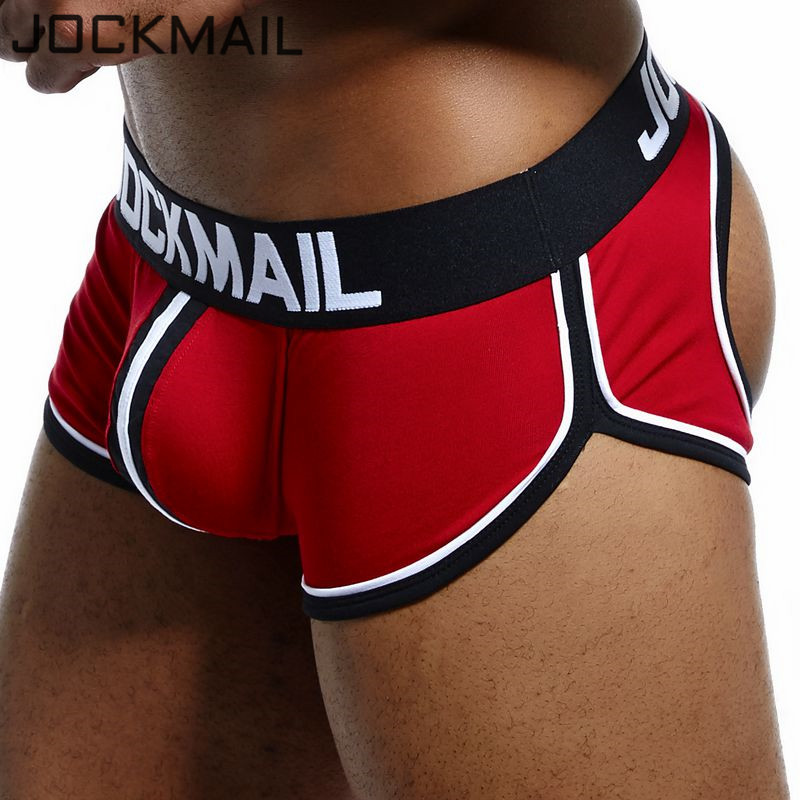 JOCKMAIL Brand Sexy Underwear Men Jockstrap Breathable Cueca Gay Underwear Cotton Boxershorts Panties Low Waist Thongs G-strings