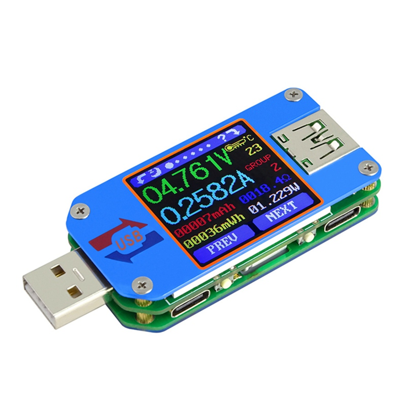 Soporte Bluetooth UM25C USB 2,0 Color LCD tipo C corriente de voltaje resistencia medida para Moblie teléfono
