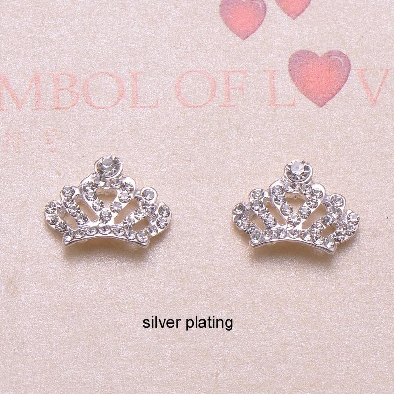 J0836 17mmx13mm metal crown shape rhinestone button crystal button silver plating flat back