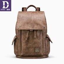 DIDE 2018 Fashion Backpack School Bag men laptop Travel back pack Leather bagback Male Cover Waterproof Schoolbag String Open недорого